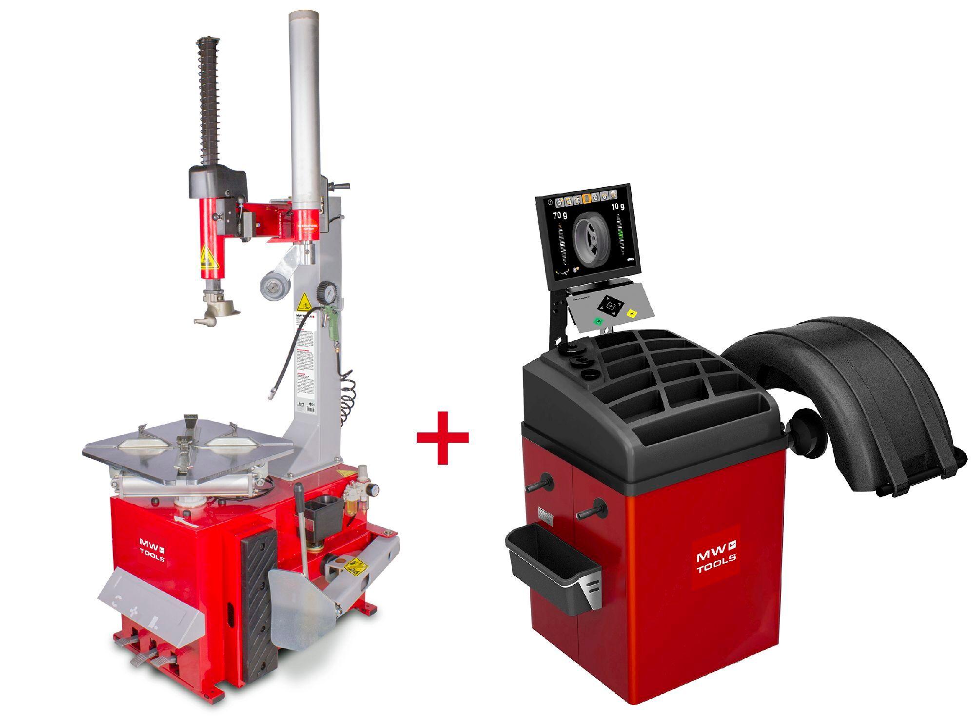 Mw-tools Pack démonte-pneu BT200 3x380V et équilibreuse de roues BB350 220V MW-Tools BT200 SET3