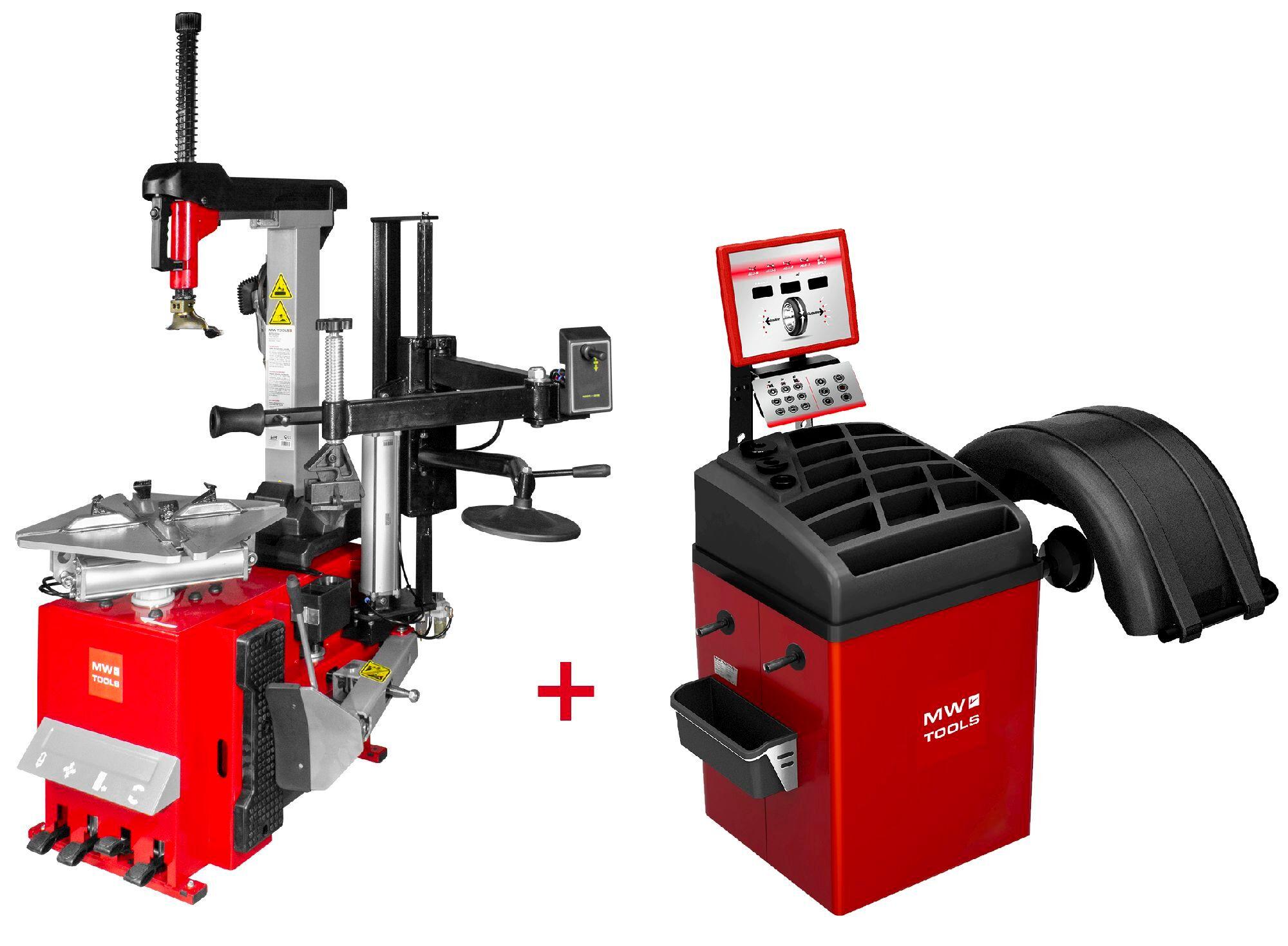 Mw-tools Set démonte-pneu BT300H 3x380V + équilibreuse de roues BB350 220V MW-Tools BT300H SET3