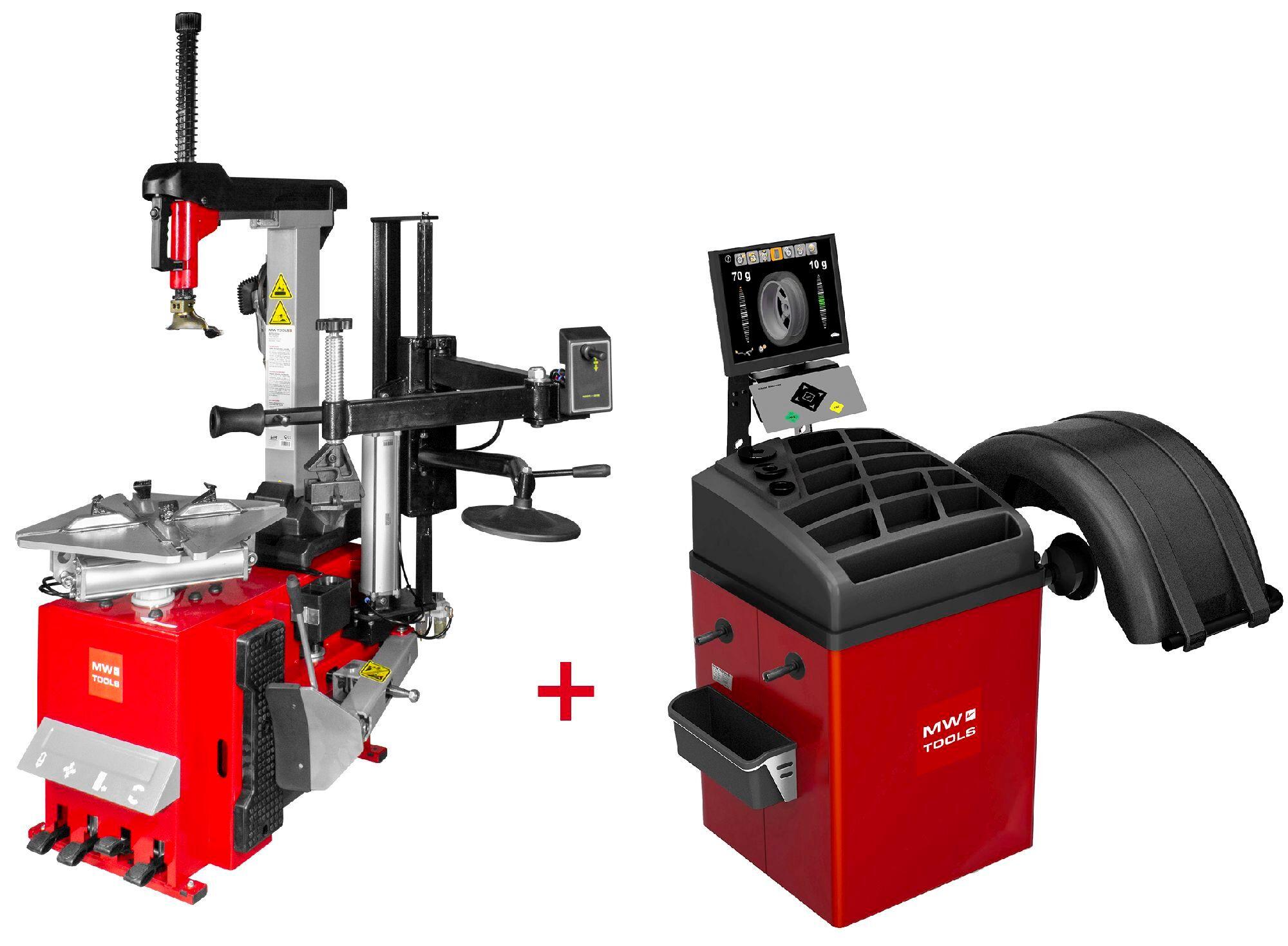 Mw-tools Set démonte-pneu BT300H 3x380V + équilibreuse de roues BB500 220V MW-Tools BT300H SET4