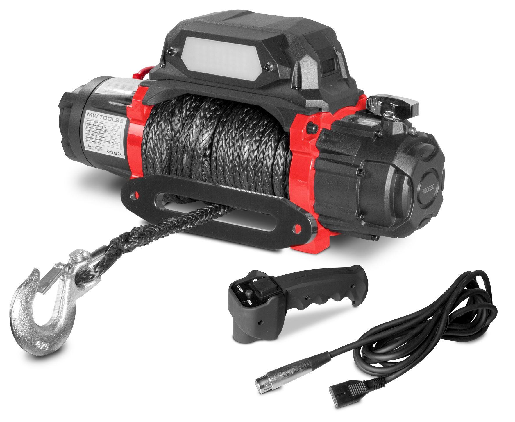Mw-tools Treuil électrique 12V synthétique 5443 kg 26m haute vitesse MW-Tools SEL550012SR