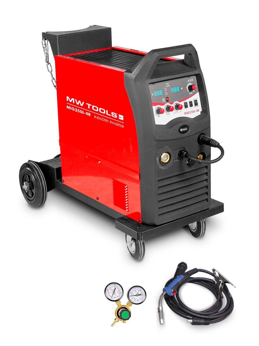 Mw-tools Poste à souder industriel mobile MIG MAG FLUX 350 A - manomètre inclus MW-Tools MIG350I-4R