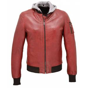 """REDSKINS Blouson cuir à capuche homme rouge style bombers redskins """"115"""""""