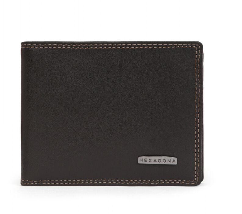 HEXAGONA Portefeuille italien en cuir de vachette marron  ' 727546 '