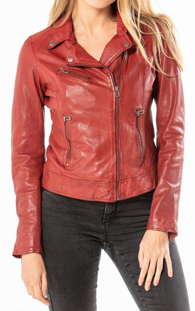 "ROSE GARDEN Blouson de cuir femme style biker red chili ""101536"""