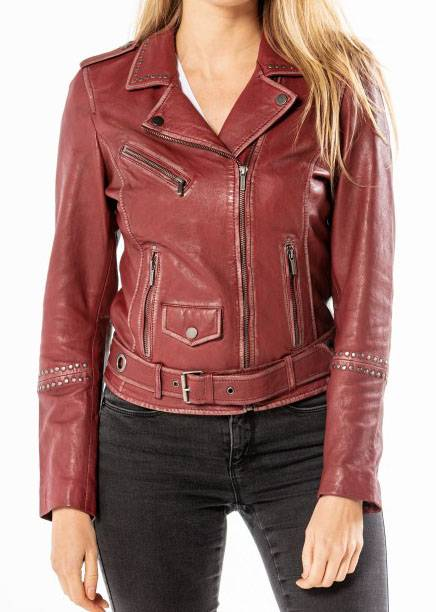 "ROSE GARDEN Blouson cuir femme rouge (red chili pepper) ""101460"""