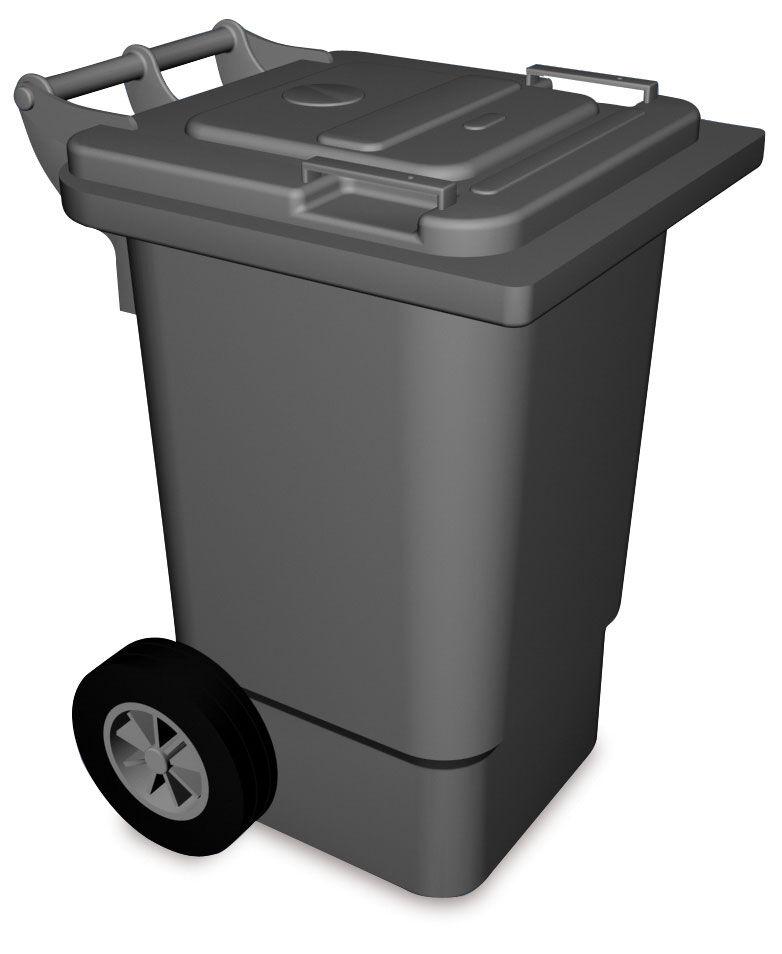 Lioninox Benne à ordures en plastique avec couvercle et roulettes 470x550x925 mm