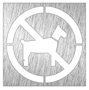 Lioninox Pictogramme inox - animaux interdit 120x120x mm