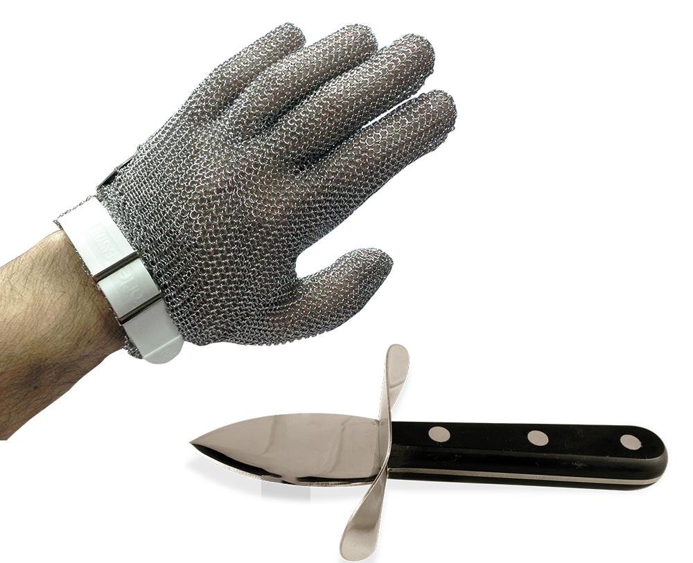 Lioninox Gant en maille inox à sangle de boucher + ouvre huitres manuel
