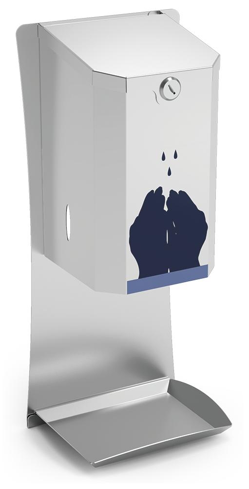 Lioninox Distributeur automatique de gel hydroalcoolique en acier inox 192x145x450 mm