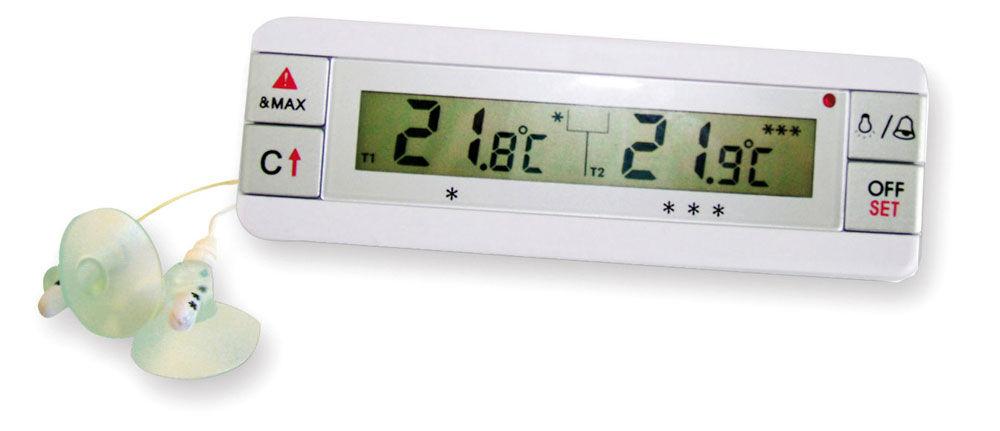 Lioninox Thermomètre digital avec deux sondes pour réfigérateur et congélateur 135x15x45 mm