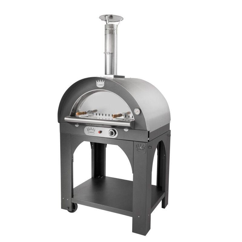 CLEMENTI Four à pizza gaz Pulcinella toit inox + base CLEMENTI