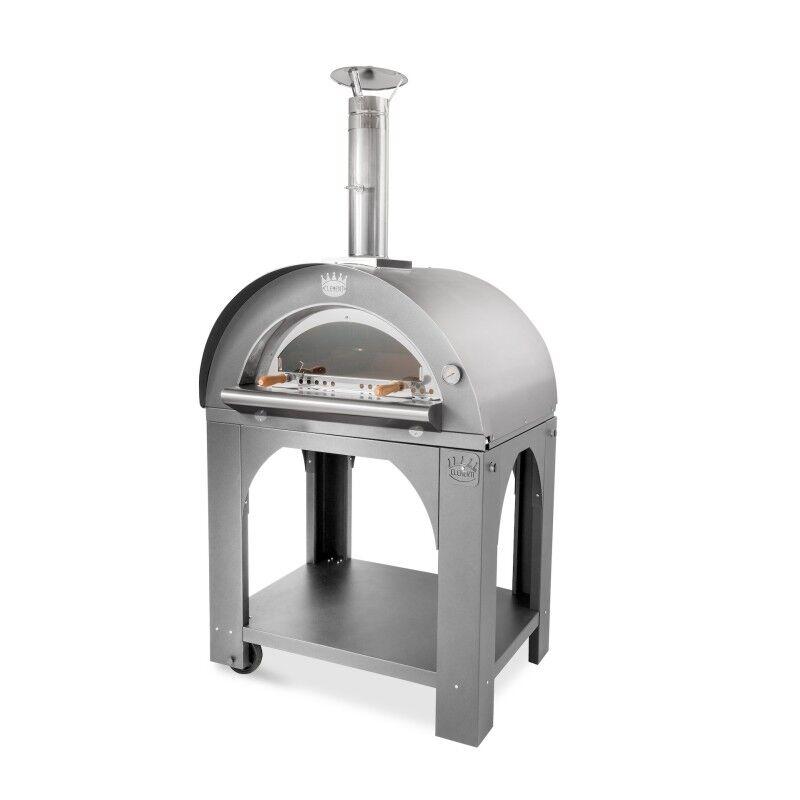 CLEMENTI Four à pizza bois tout inox Pulcinella + base CLEMENTI