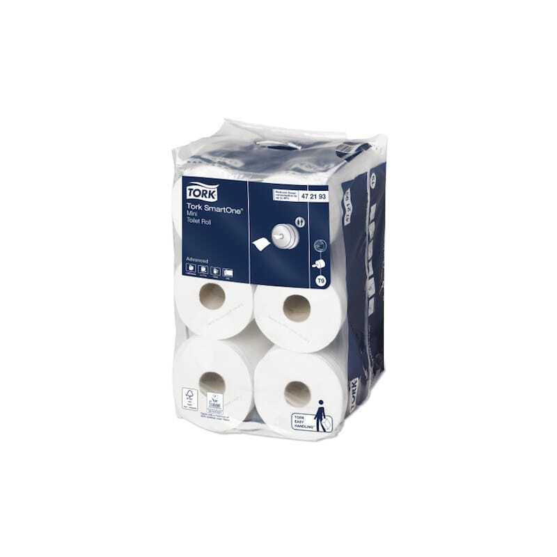 Tork Papier Toilette Rouleau Advanced Blanc pour Mini Distributeur - Tork SmartOne - Lot de 12