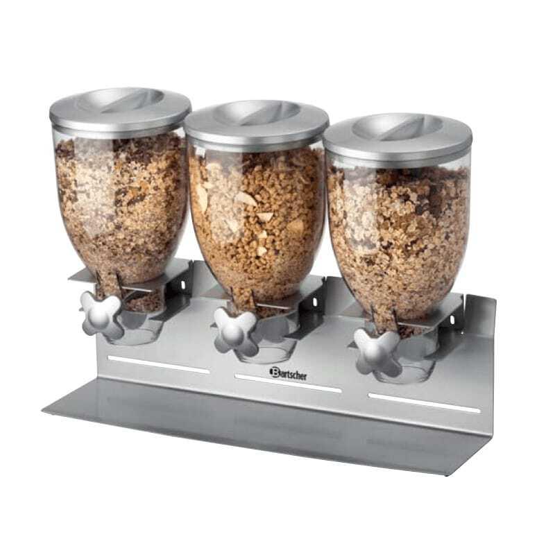 Bartscher Distributeur de Céréales Triple - 10,5 Litres