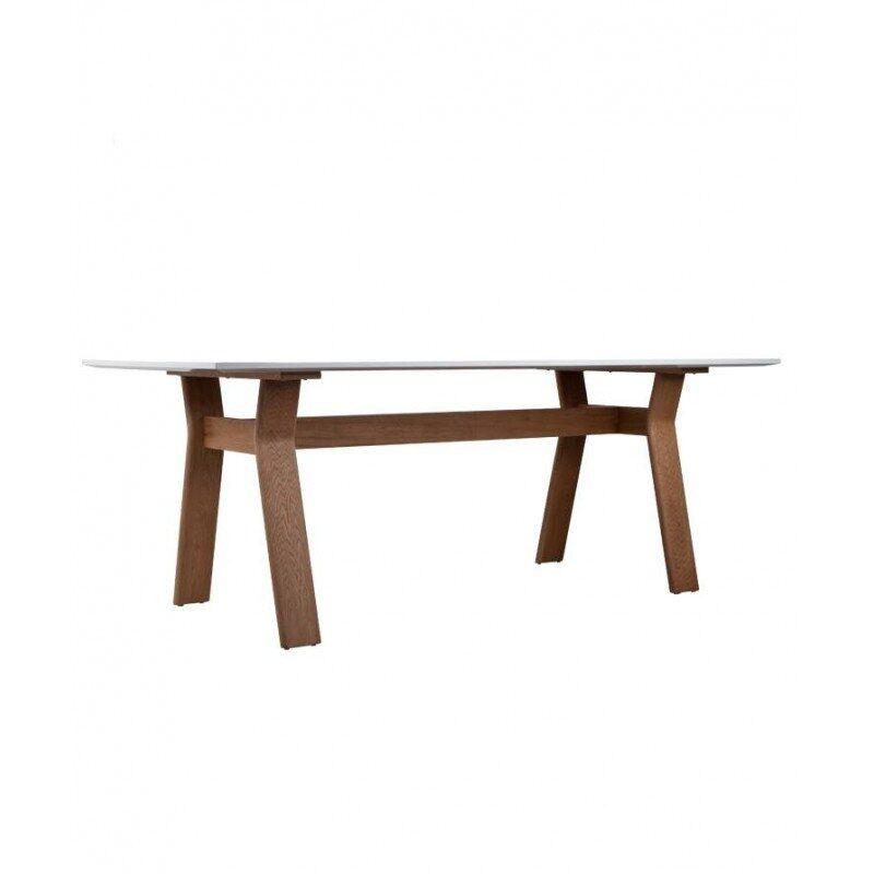 """Zuiver """"Table - repas ou bureau - TABLE HIGH ON WOOD - blanche et pieds bois"""""""