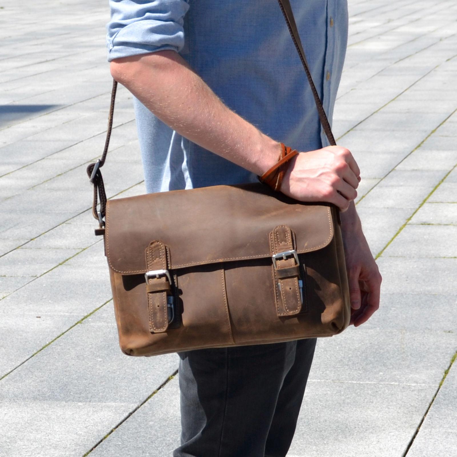 Delton Bags Besace en cuir marron