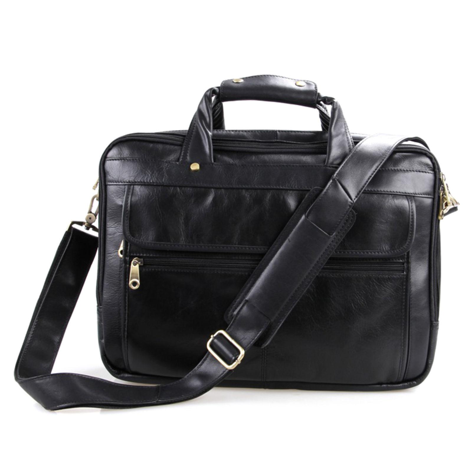 Delton Bags Porte-documents compact en cuir noir