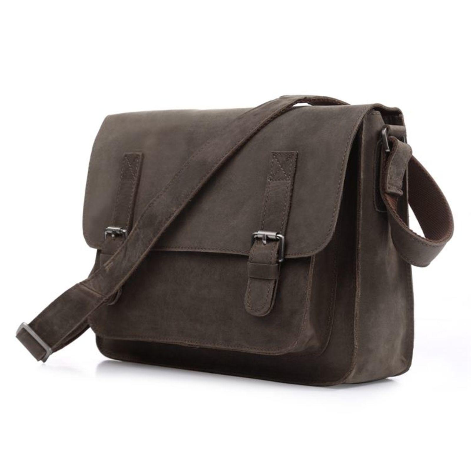 Delton Bags Porte-documents en cuir brun lisse