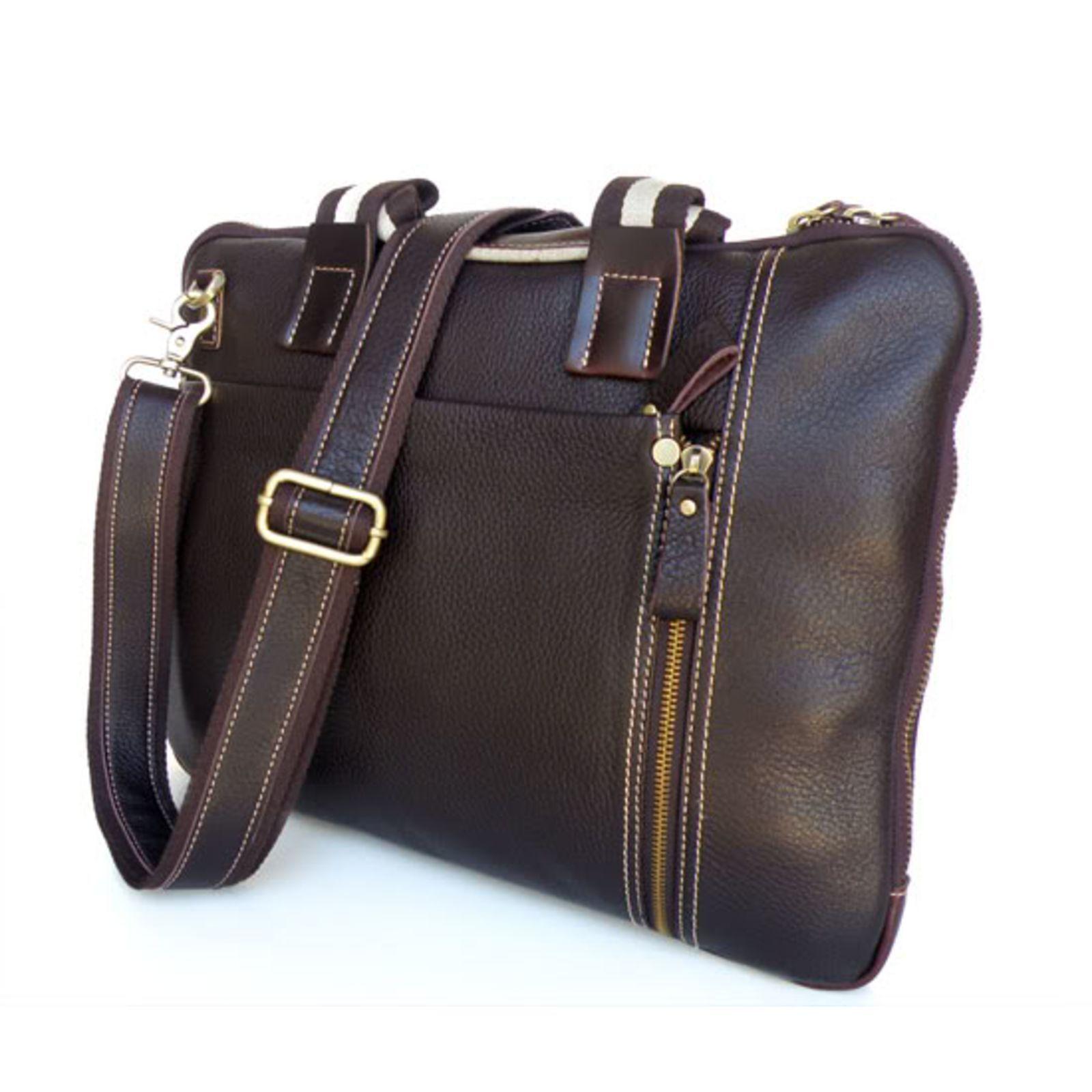 Delton Bags Sacoche pour ordinateur en cuir marron foncé