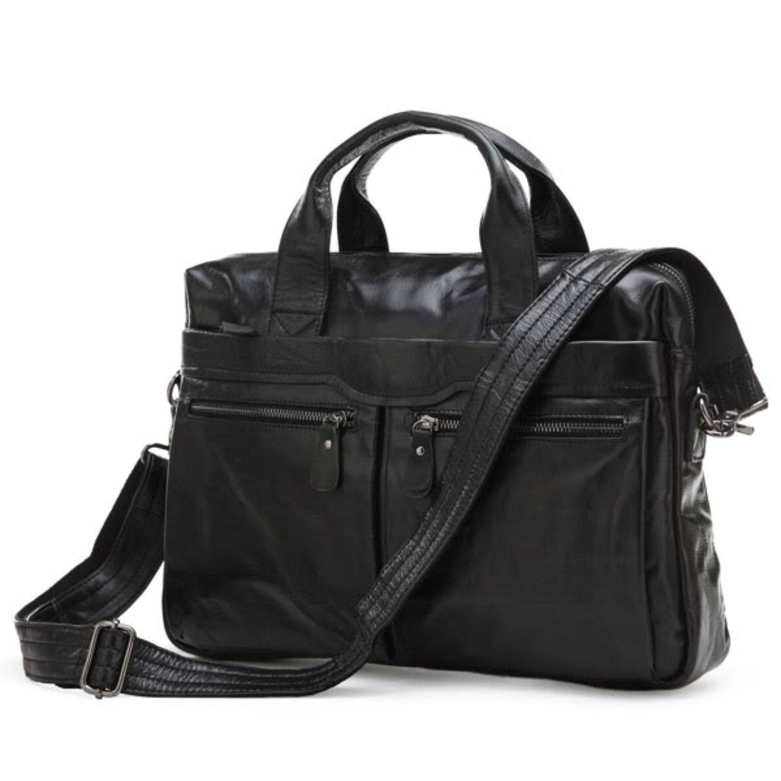 Delton Bags Sacoche pour ordinateur en cuir noir