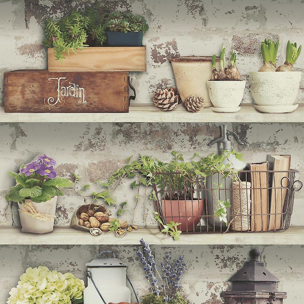 Debona Fleurs pots papier peint jardin rustique étagères en détresse coller le vinyle mural