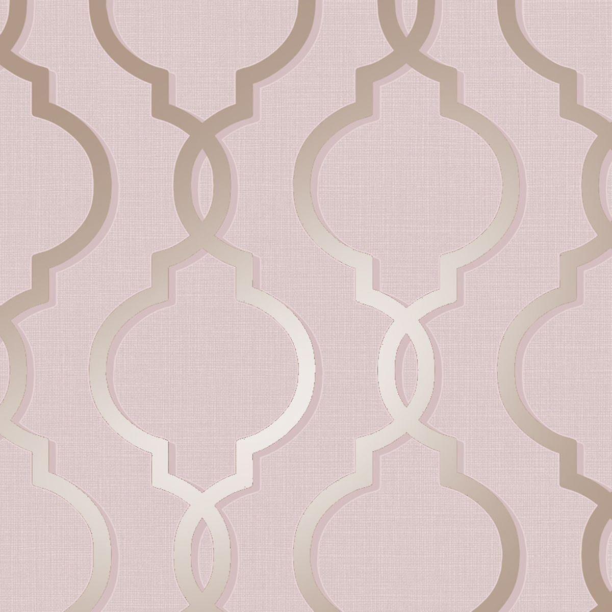 Holden Decor Treillis géométrique motif papier peint baroque rose or métallisé paillettes rétro