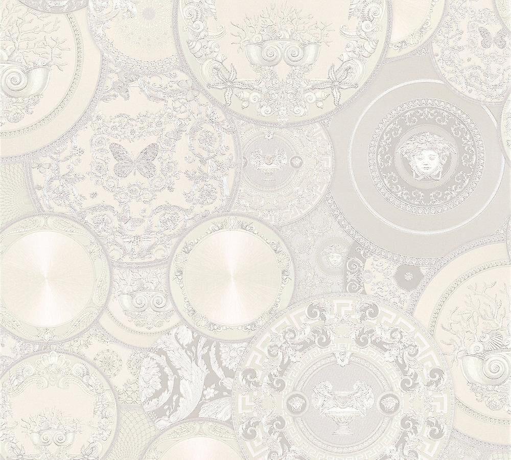 Versace blanc plaques paillettes papier peint vinyle coller mur Les Etoiles de la Mer