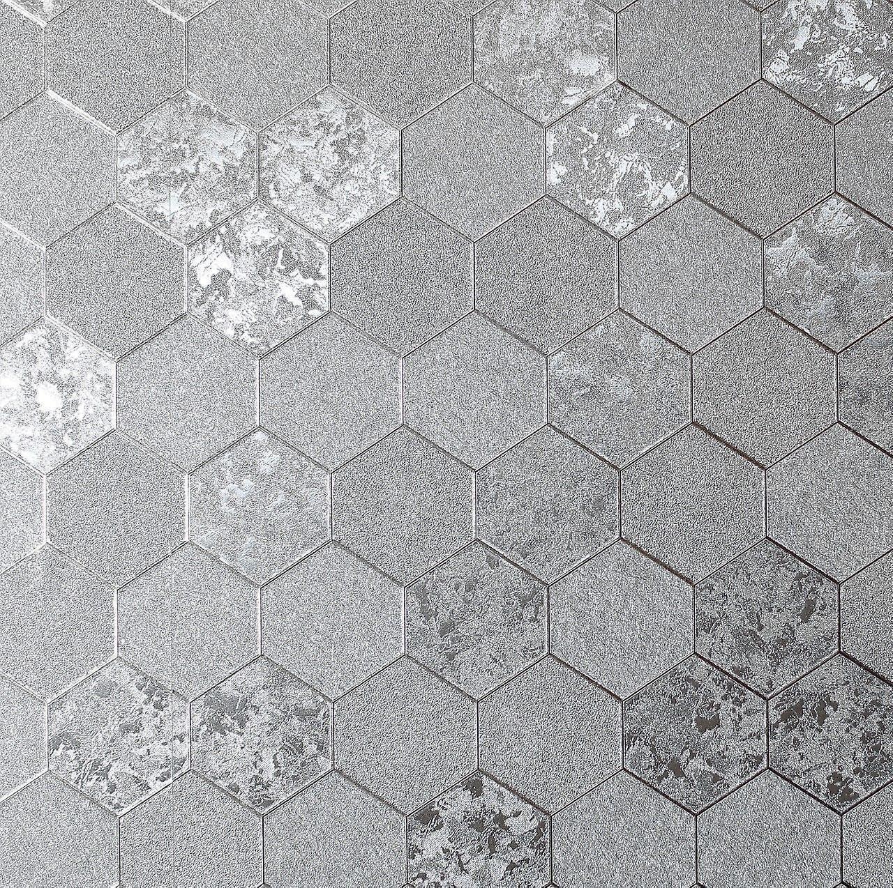Arthouse Nid d'abeille Crush papier peint géométrique luxe aluminium texturé vinyle argent Arthouse