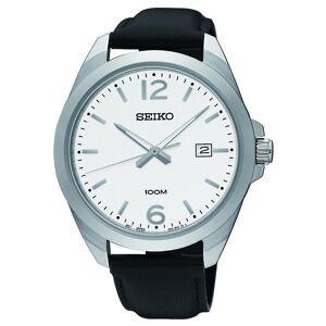 Seiko Watches Seiko Montres Sur213p1 Argent, Cadran blanc & Cuir noir Homme 's Montre Quartz - Publicité