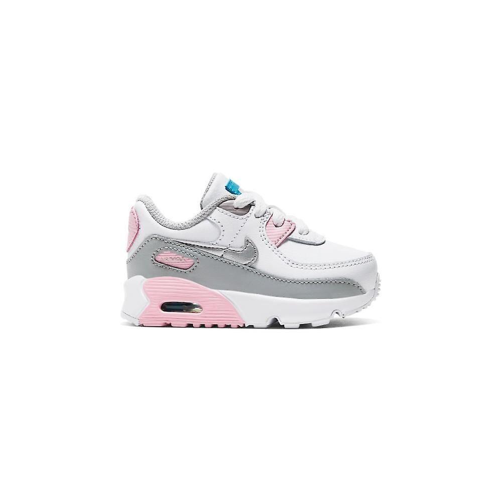 Nike Air Max 90 Cuir CD6868004 universal toute l'année chaussures pour enfants blanc/rose/gris 8.5 Kid UK / 9 US / 26 EUR / 15 cm