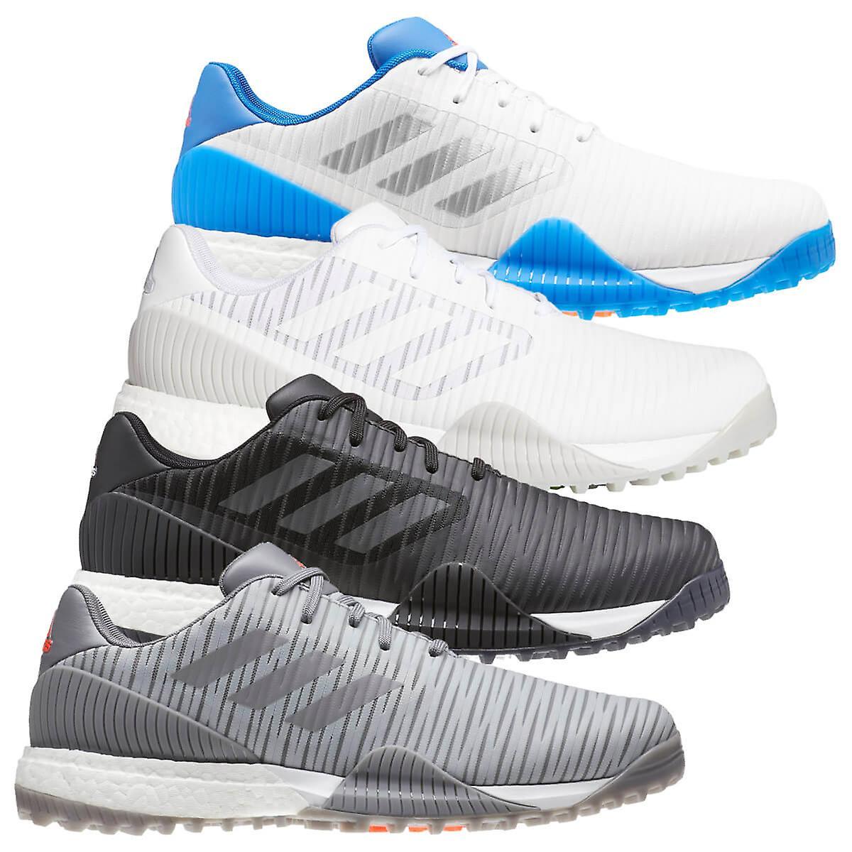 adidas Golf Hommes 2020 Code Chaos Sport imperméable à l'eau Chaussures de golf légères Blanc/argenté/bleu UK 9.5