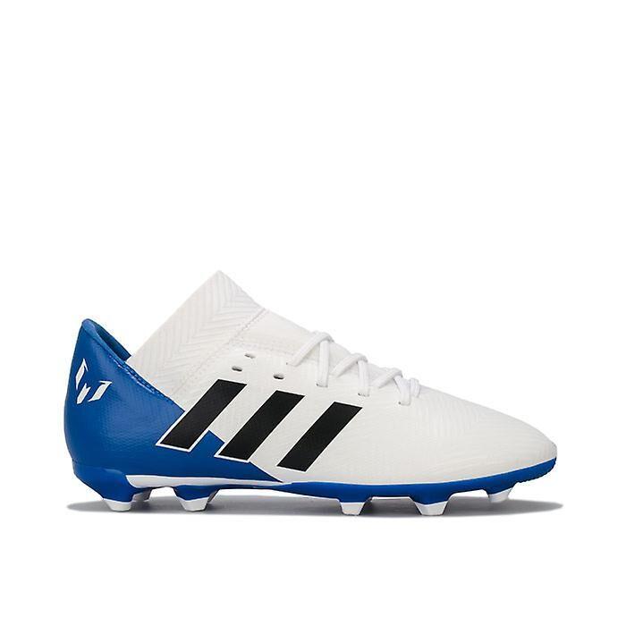 Adidas Boy-apos;s adidas Junior Nemeziz Messi 18.3 FG Football Boots en Blanc Blanc bleu UK 5.5