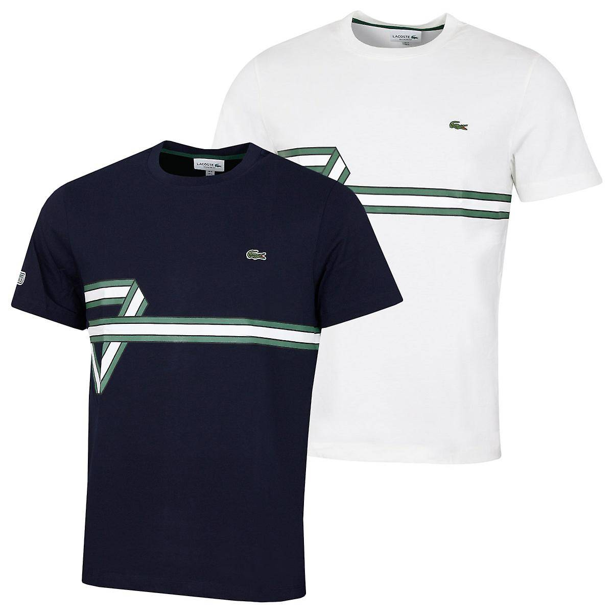 Lacoste Mens 2020 TH5166 Ribbed Collar Cotton Crocodile Ribbon T-Shirt Farine Size 3 - S