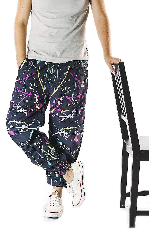 Funny Guy Mugs Drôle Guy Mugs Neon Paint Splatter Windbreaker Pantalon, X-Large X-Large US /