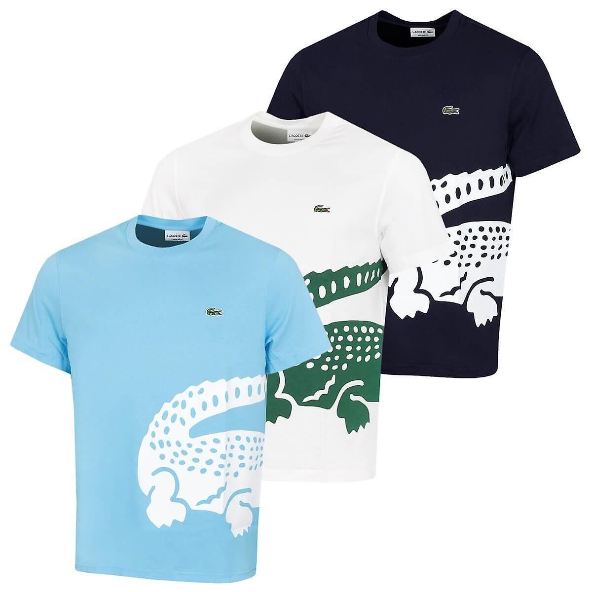 Lacoste T-shirt en coton Crocodile Brodé Lacoste Mens 2020 TH5139 Farine Size 6 - XL