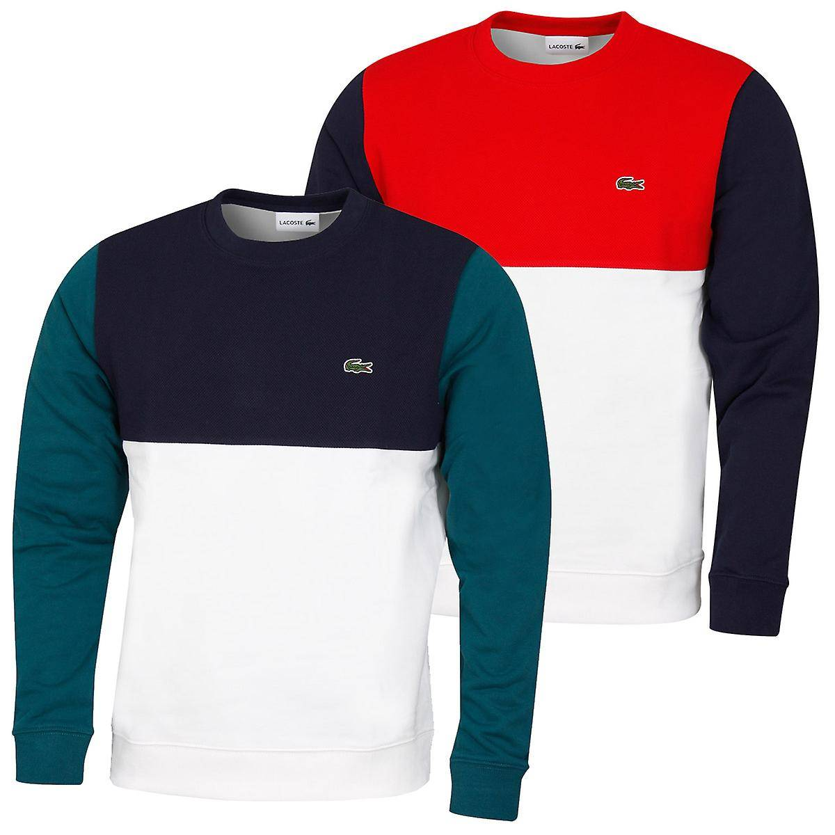 Lacoste Mens 2020 SH5185 Ribbed Contrast Brodé Crocodile Sweater Farine/Bleu Rouge-Marine Size 3 - S