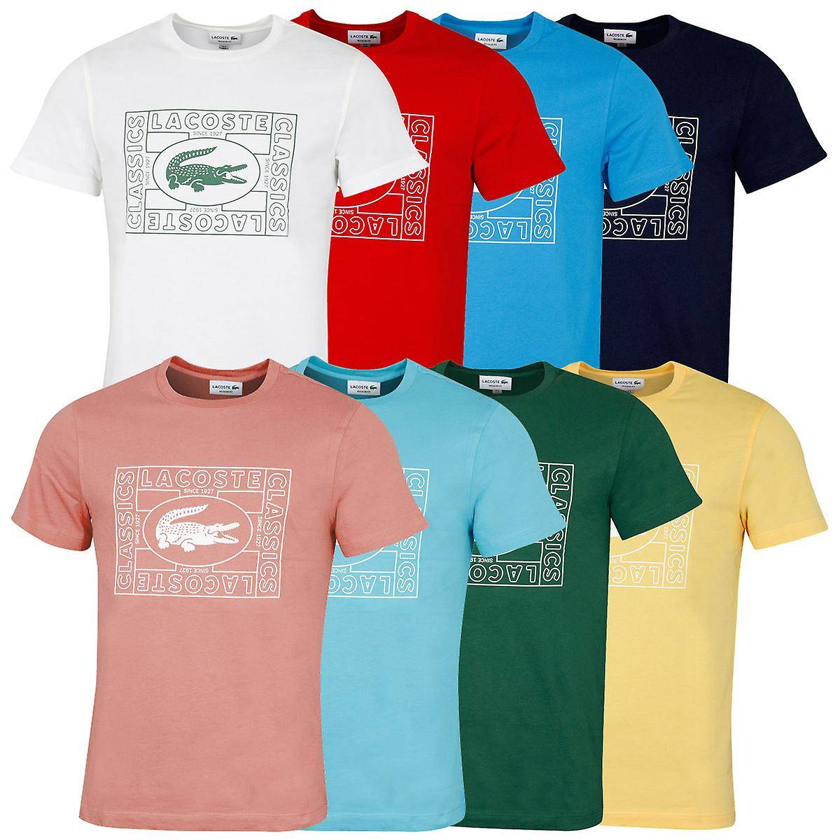 Lacoste T-shirt en coton Crocodile Brodé Lacoste Mens 2020 TH5097 Farine Size 3 - S