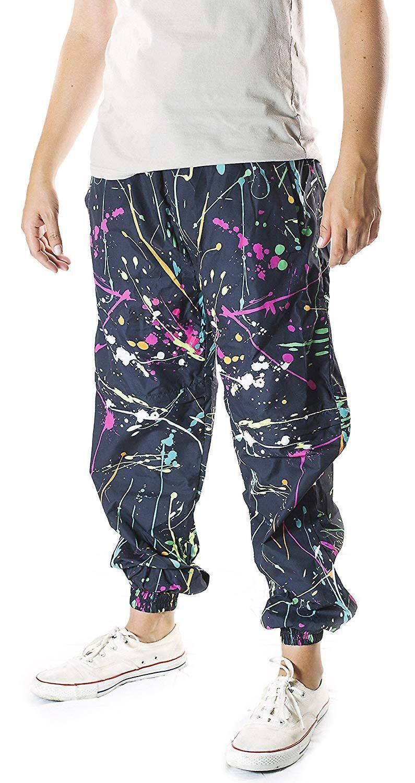 Funny Guy Mugs Drôle Guy Mugs Neon Paint Splatter Windbreaker Pantalon, 2X-Large XX-Large US /