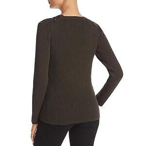 Kenneth Cole Women-apos;s Zip Shoulder Ribbed Sweater, deep Forest, M Vert Medium US / - Publicité