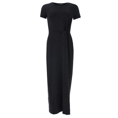 6 - Noir - Femme Vero Moda Ava Lulu Short Sleeve Maxi Robe en noir. Robe maxi douce et drapée.- Col rond.- Manches courtes.- Détail de noeud à ...