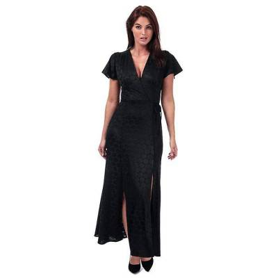 10 - Noir - Womens Français Connection Kandi Polka Jacquard Wrap Maxi Dress in black.- V-neck with mock wrapover detail and side tie.- Concealed s...