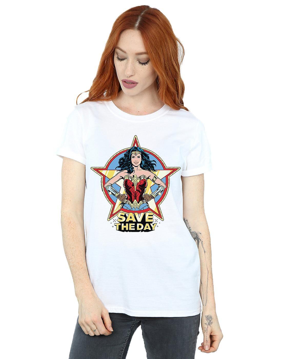 Absolute Cult DC Comics Femmes-apos;s Wonder Woman 84 Star Design Boyfriend Fit T-Shirt Blanc XX-Large