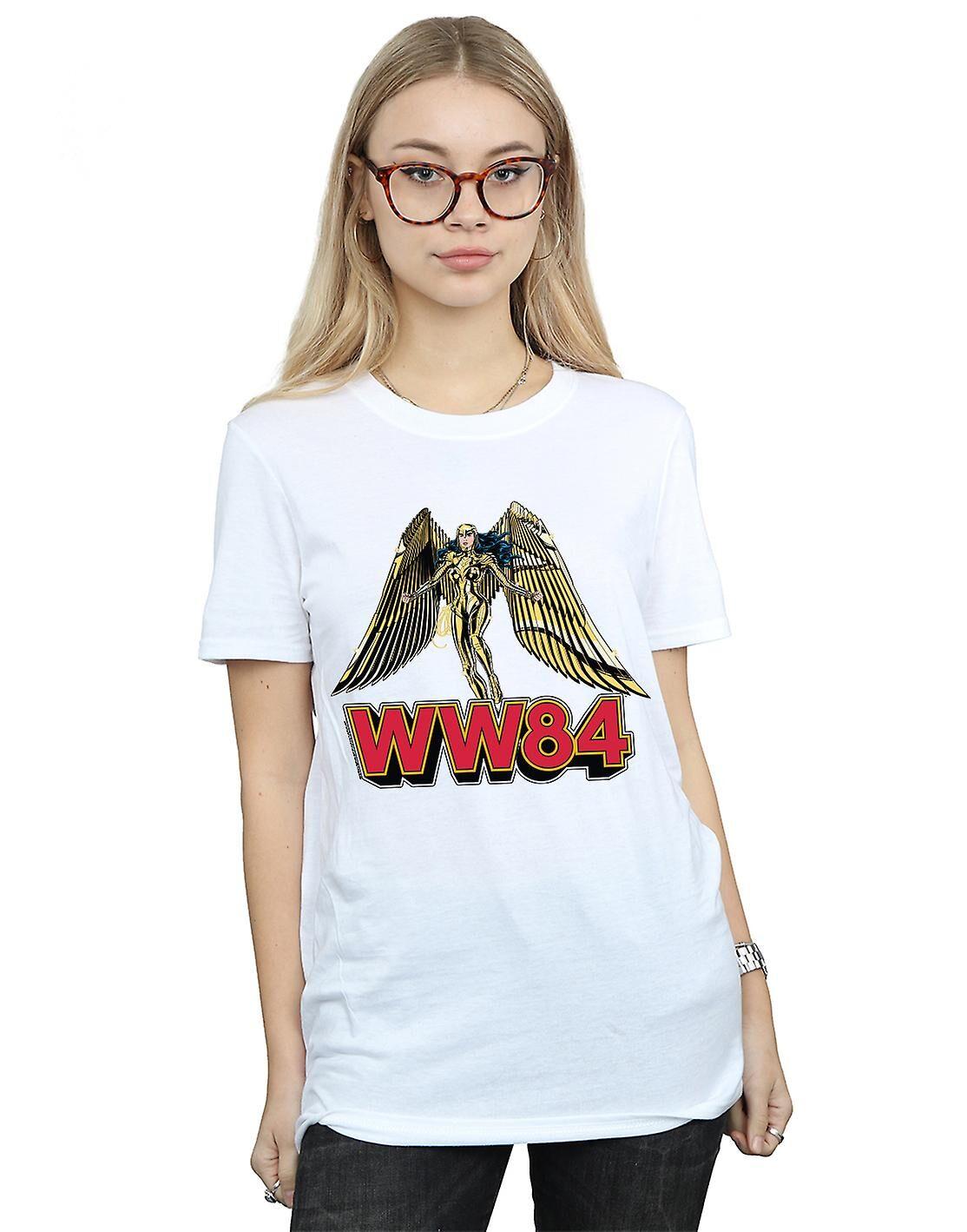 Absolute Cult DC Comics Femmes-apos;s Wonder Woman 84 Golden Armour Boyfriend Fit T-Shirt Noir Medium
