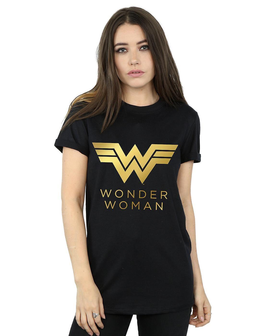 Absolute Cult DC Comics Femmes-apos;s Wonder Woman 84 Golden Logo Boyfriend Fit T-Shirt Blanc XXXXX-Large