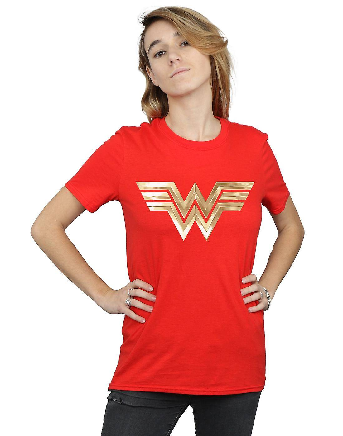Absolute Cult DC Comics Femmes-apos;s Wonder Woman 84 Gold Emblem Boyfriend Fit T-Shirt Blanc XXXX-Large