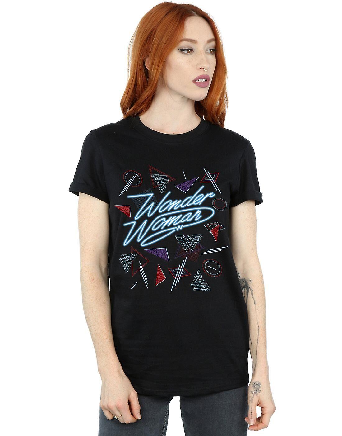 Absolute Cult DC Comics Femmes-apos;s Wonder Woman 84 80s Mix Boyfriend Fit T-Shirt Noir Large