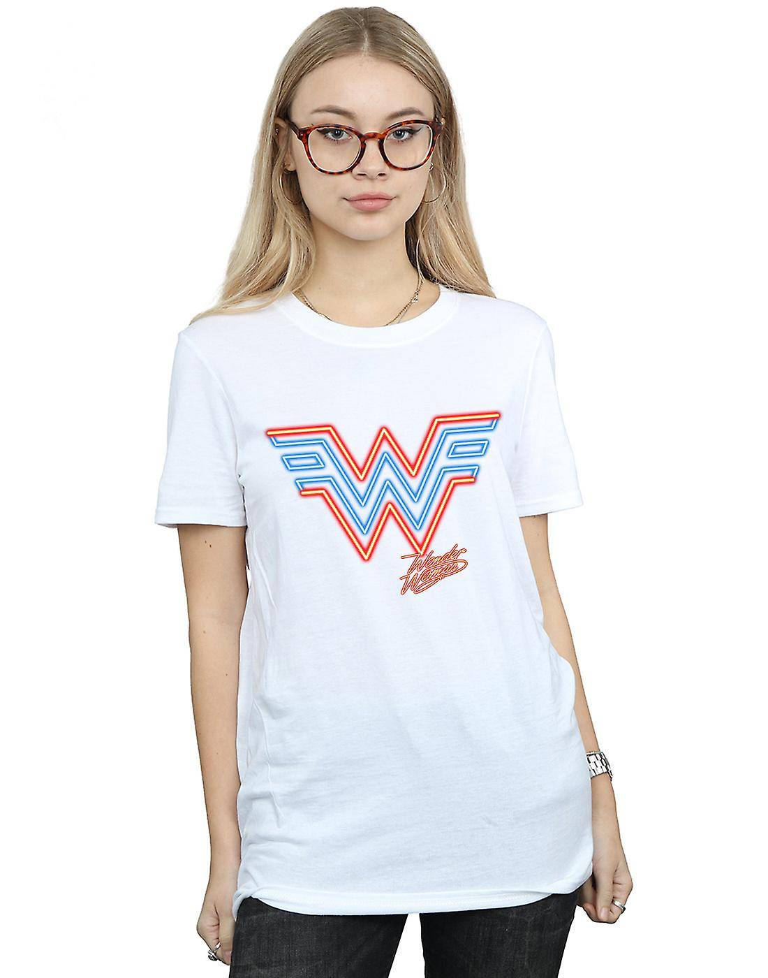 Absolute Cult DC Comics Femmes-apos;s Wonder Woman 84 Neon Emblem Boyfriend Fit T-Shirt Noir Small
