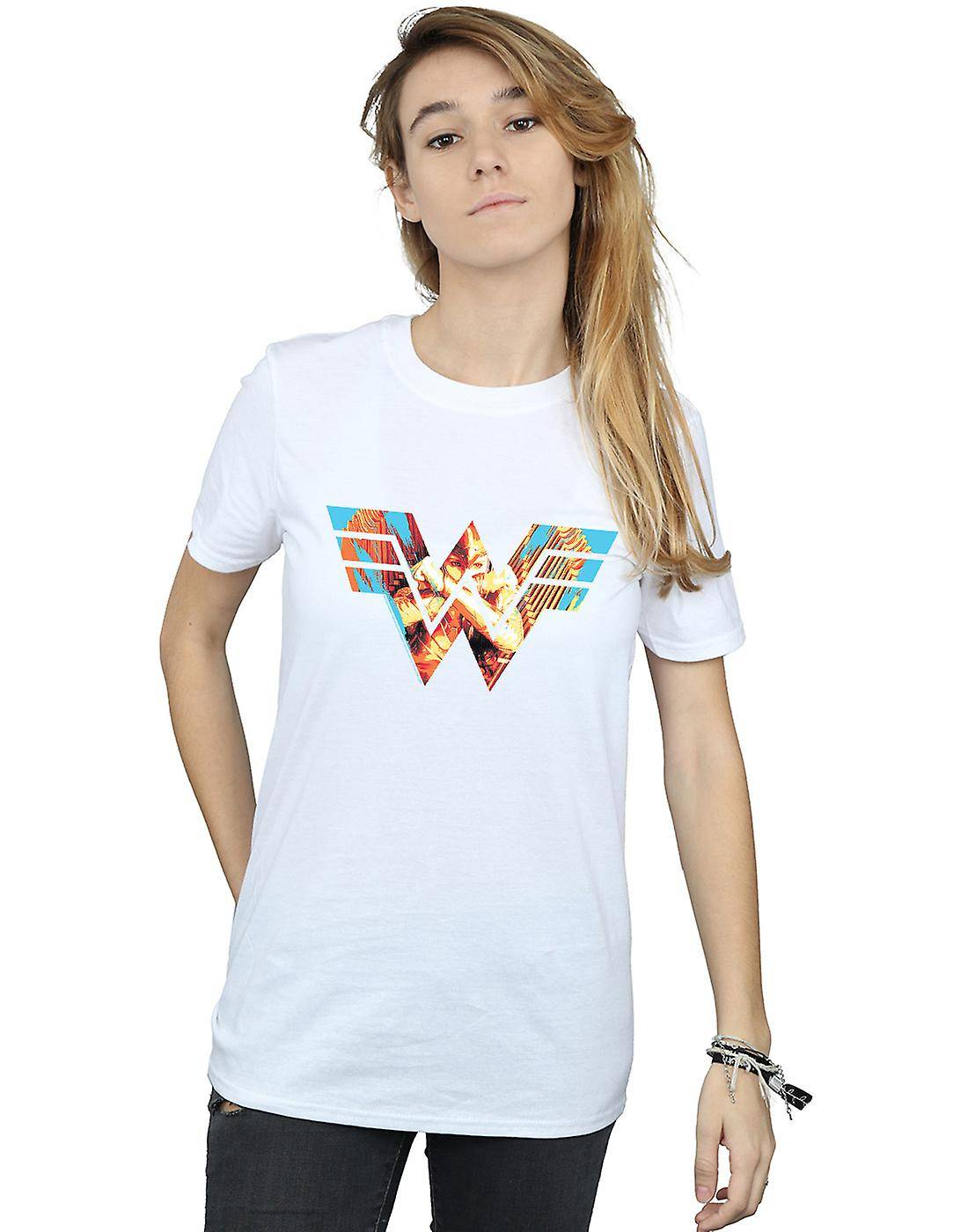Absolute Cult DC Comics Femmes-apos;s Wonder Woman 84 Symbol Crossed Arms Boyfriend Fit T-Shirt Noir Small