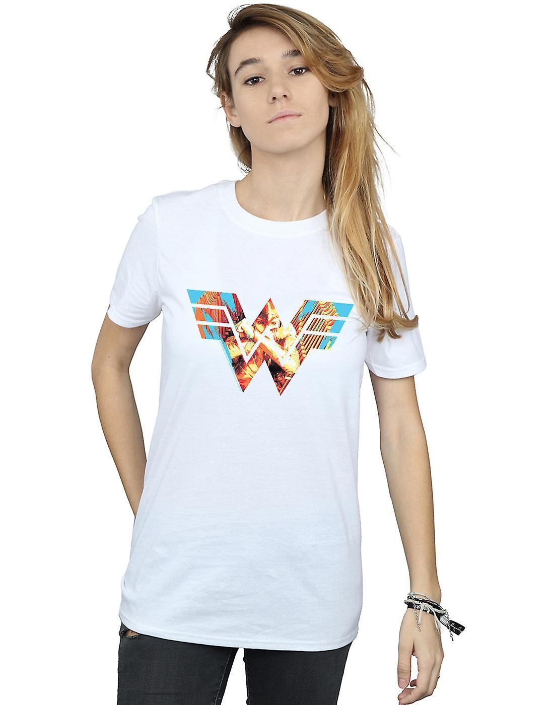 Absolute Cult DC Comics Femmes-apos;s Wonder Woman 84 Symbol Crossed Arms Boyfriend Fit T-Shirt Blanc X-Large