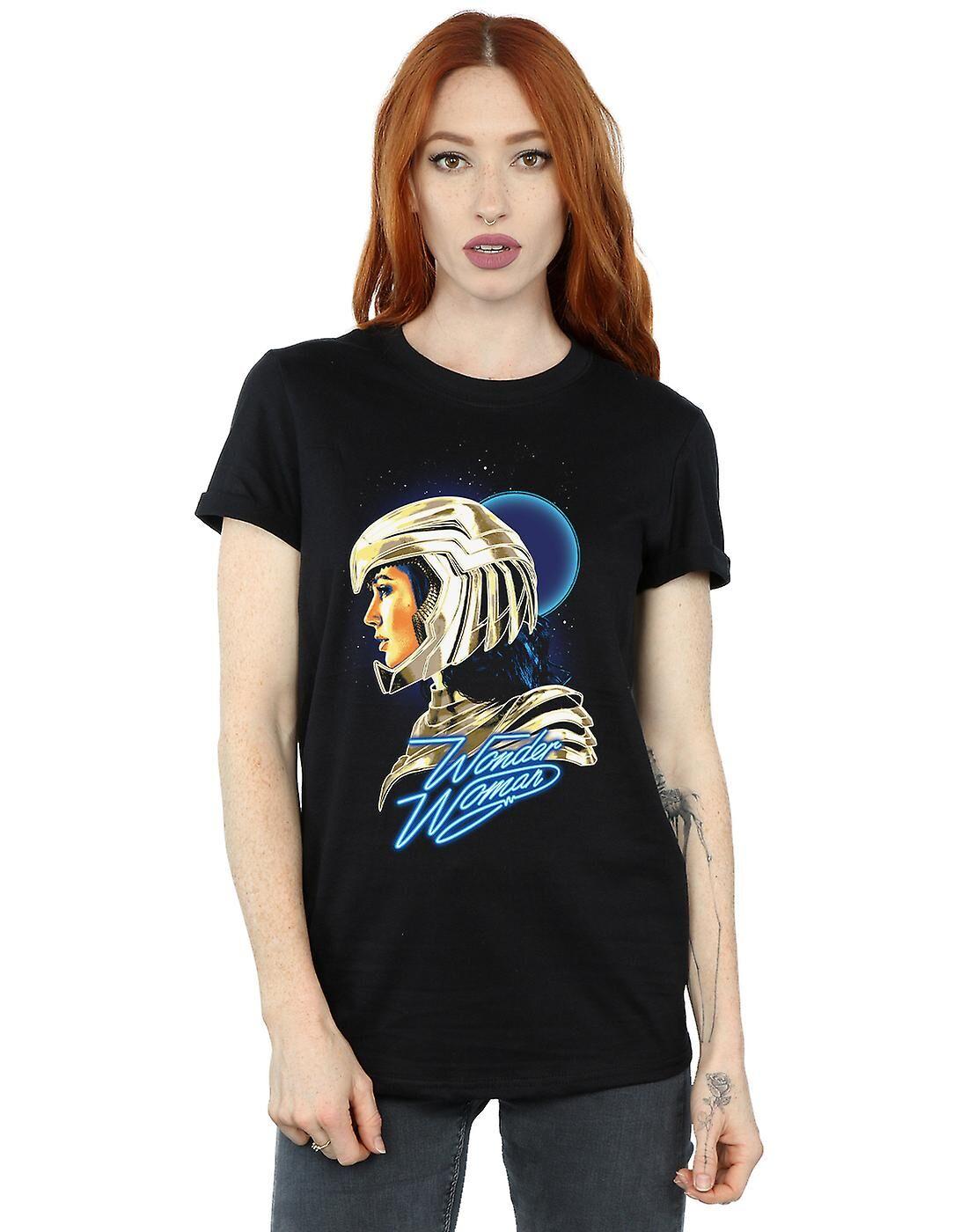 Absolute Cult DC Comics Femmes-apos;s Wonder Woman 84 Rétro Gold Helmet Boyfriend Fit T-Shirt Noir Large